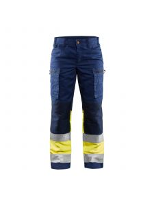 Ladies High Vis Trousers Stretch 7161 Marine/High Vis Geel - Blåkläder