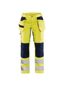 Ladies High Vis Trousers With Stretch 7163 High Vis Geel/Marineblauw - Blåkläder