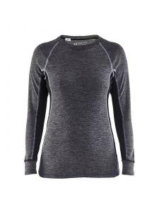 Ladies Underwear Top Warm 100% Merino 7200 Medium Grijs/Zwart - Blåkläder