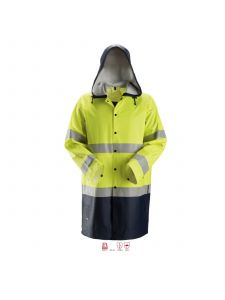 Snickers 8261 ProtecWork, Rain Jacket PU, Class 3 - High Vis Yellow / Navy