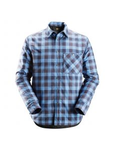Snickers 8501 RuffWork, Padded Flannel Checked l/s Shirt - Navy/Cloud Blue