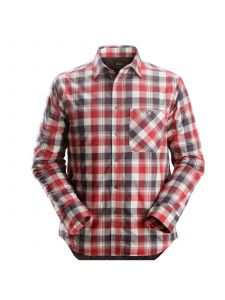Snickers 8501 RuffWork, Padded Flannel Checked l/s Shirt - Steel Grey/ Chili Red