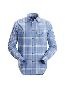 Snickers 8502 RuffWork, Flannel Checked l/s Shirt - Cloud Blue/Steel Grey