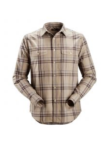 Snickers 8502 RuffWork, Flannel Checked l/s Shirt - Khaki/Cloud Blue
