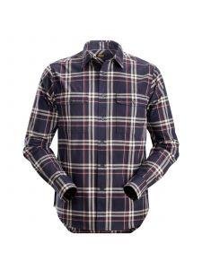 Snickers 8502 RuffWork, Flannel Checked l/s Shirt - Navy/ Chili Red
