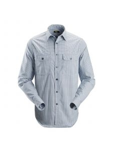 Snickers 8507 AllroundWork, Comfort Checked l/s Shirt - Cloud Blue/Navy
