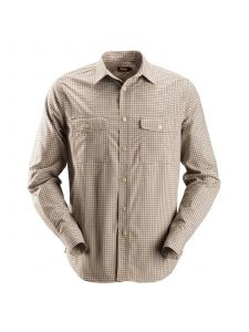 Snickers 8507 AllroundWork, Comfort Checked l/s Shirt - Khaki/Black