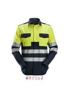 Snickers 8563 ProtecWork, l/s Welding Shirt High-Vis, Class 3 - Navy / High Vis Yellow