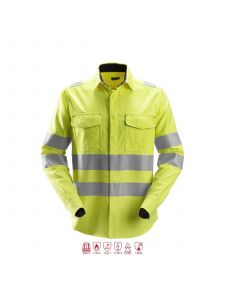 Snickers 8565 ProtecWork, l/s Welding Shirt High-Vis, Class 3 - High Vis Yellow