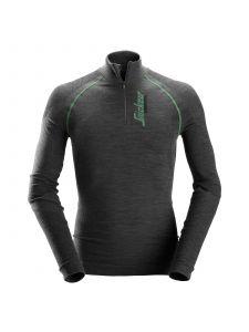 Snickers 9441 FlexiWork, Seamless Wool l/s ½-Zip Shirt - Anthracite Melange