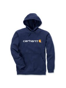 Carhartt 100074 Signature Logo Midweight Hooded Sweatshirt - New Navy