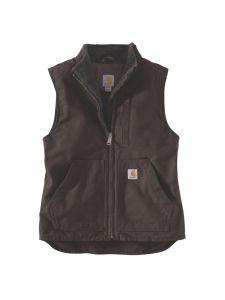 Carhartt 104224 Women's Washed Duck Sherpa Lined Mock Neck Vest - Dark Brown