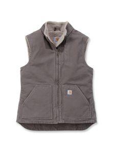 Carhartt WV001 Women's Sandstone Mock Neck Vest - Taupe Grey