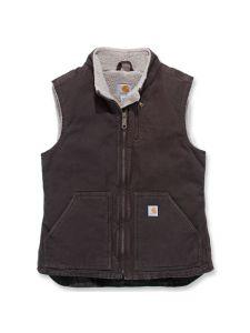 Carhartt WV001 Women's Sandstone Mock Neck Vest - Dark Brown
