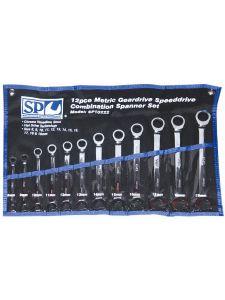 Combination Geardrive Spanner Set 12pc Speeddrive Metric - SP Tools